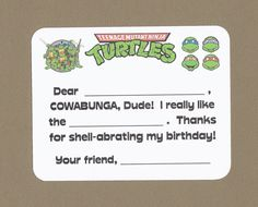 Teenage Mutant Ninja Turtle - fill in the blank cards - Birthday gift thank you cards
