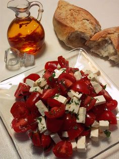 Cherry Tomato & Panela Cheese Salad w/ Chile de Arbol Infused Olive Oil