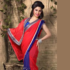 Red and Blue Faux Georgette Saree with Blouse