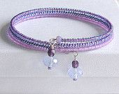Lavender/Lilac, Seed Bead, Wrap Bangle Bracelet with Wire Wrapped Dangles - Memory Wire Bracelet