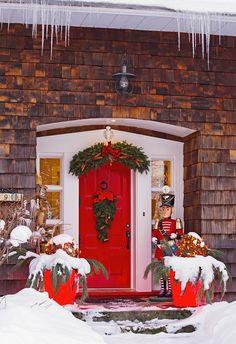Christmas Decorations Around A Front Door Knowlton Quebec Canada Canvas Art - David Chapman Design Pics x Christmas Music, Christmas Images, Christmas Home, Christmas Holidays, Merry Christmas, Xmas, Magical Christmas, Christmas Lights, Comin Home