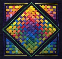 Woven Rainbow - Quilt kit from Conundrum Quilts. 3d Quilts, Barn Quilts, Mini Quilts, Applique Quilts, Quilting Projects, Quilting Designs, Ribbon Quilt, Quilt Modernen, Colorful Quilts