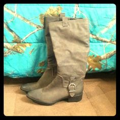 Tall boots New Tall boots, grayish brown in color, size 10. Never been used! Shoes Over the Knee Boots