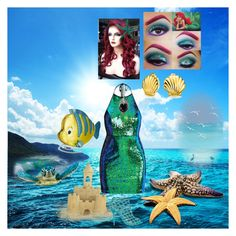 """Ariel"" by batgirl-at-the-disco3 ❤ liked on Polyvore featuring Disney, Bling Jewelry, Sergio Rossi, Danielle Nicole, ariel and sea"