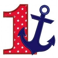 Number One Birthday Anchor Marine Applique Machine Embroidery Digitized Design Pattern Nautical Banner, Nautical Party, Nautical Anchor, Embroidery Monogram Fonts, Embroidery Applique, Sailor Birthday, Christmas Applique, Rhymes For Kids, Machine Embroidery Designs