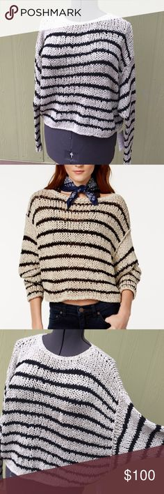 "Free People wheat & black striped cropped sweater Free People wheat & black striped cropped sweater w/slouchy dolman sleeves, brand new with tags, women's size large, measures up to 52"" bust & waist, 18"" shoulder to hemline length, super soft stretch material. Fits oversized Free People Sweaters Crew & Scoop Necks"