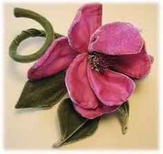 I ❤ ribbonwork . . . Vintage Pink Velvet Flower