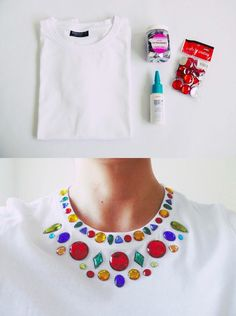 Ingeniosa camiseta con gemas - and-other-things.com - DIY Gem Embellished Shirt
