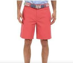 JACHS Men's Size 32 Flat Front Chino Shorts, Jetty Red
