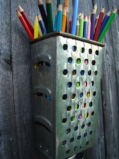 Upcycled Cheese Grater Pencil Holder idea.