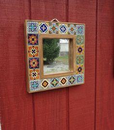 Custom Made Mexican Tile Rustic Wood Mosaic Framed by earthshack, $68.00