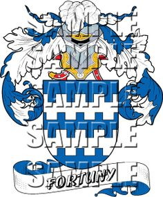 Fortuny Family Crest apparel, Fortuny Coat of Arms gifts