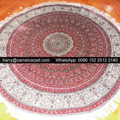 No.1503161 - 6x6ft (183x183cm) $1728 Free Shipping 2x Red Handmade silk Round rug harry@camelcarpet.com Whatsapp: 0086 152 2512 2140 #nain #belgium #kashan #saudi #saudiarabic #gaziantep #dubai #persian #carpet #silk #silkcarpet #silkrug #egyptian #rugs #rug #carpets #kashan #kashancarpet #kashanpersian #turkishcarpets #turkish