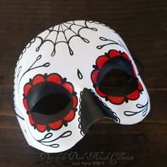 Red Rose Sugar Skull Day of the Dead Mask Hand painted by Lupe Flores. POSSIBLE COLLAGE IMAGE