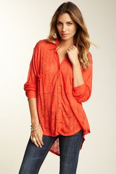 Free People Sheer Jungle Button Down Cover Up.