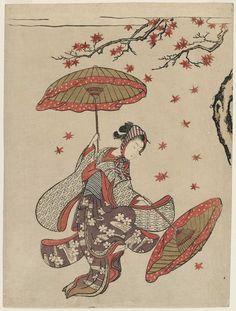 Beauty Performing the Dance of Autumn Leaves (Momiji mai), a color woodblock print by Suzuki Harunobu (1725-1770)