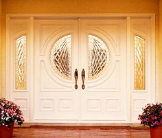 Custom Stained Glass Windows - Making Homes Distinctive Since 1978 Entry Doors With Glass, Double Entry Doors, Glass Front Door, Door Entry, Glass Doors, Entryway, Stained Glass Door, Custom Stained Glass, Exterior Doors