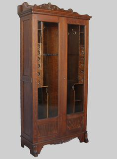 Oak Gun Cabinet With Original Finish Manufactured By Henry C Squires Son