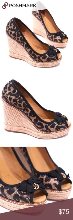 "Tory Burch Leopard Espadrille Wedge Heels Gorgeous designer Tory Burch shoes. Size 8 B. Gently worn once and in good condition. Exterior is great with minimal bottom sole wear and some marks on the inside sole. Features a leopard print design and classic rope espadrille heel wedge. Open toe. Bow at the front. 4.5"" high with a 1"" platform bottom. Tory Burch Shoes Wedges"