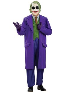 Smile all night long in this Joker costume. You might even run into Batman! This Batman Dark Knight Deluxe The Joker Deluxe costume includes Joker mask, purple coat with attached dress shirt, vest, an Joker Halloween Costume, Batman Halloween Costume, Batman Costumes, Movie Costumes, Adult Costumes, Scary Halloween, Halloween Ideas, Halloween Party, Party Costumes