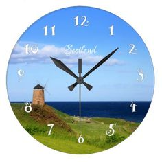 Old windmill in Scotland beautiful wall clock - decor gifts diy home & living cyo giftidea