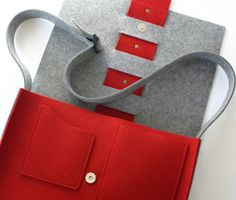 Messenger Bag in Red and Gray Wool Felt by fuzzylogicfelt on Etsy, $125.00. So aesthetic