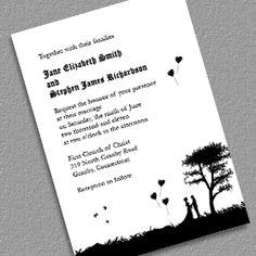Romantic Silhouette Free Wedding Invitation
