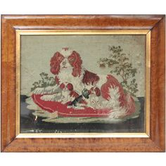 Framed Needlework Scene of Cavalier King Charles Spaniel and Pups | From a unique collection of antique and modern textiles and quilts at https://www.1stdibs.com/furniture/more-furniture-collectibles/textiles-quilts/