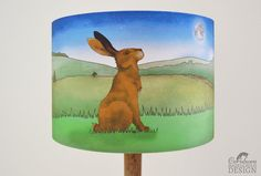 Hare Fabric Lampshade Illustrated Lamp Shade Handmade