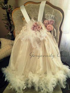 Vintage Tea Party Dress, toddler feather dress, girls feather dress shabby chic, flower girl dress whimsical dress, romantic dress on Wanelo