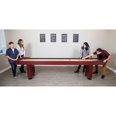 Shop Challenger 9-Ft Shuffleboard Table - Dark Cherry Finish - Overstock - 6217673 Shuffleboard Games, Mdf Cabinets, Humid Weather, Cherry Finish, Table Sizes, Built In Storage, Walnut Finish, Game Room, Dining Bench