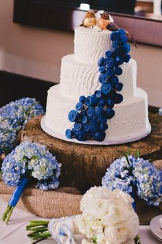 Snorkel Blue and White ButterCream Wedding Cake