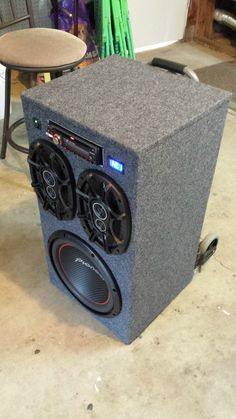 Post with 71 votes and 76170 views. Shared by DIY Portable Stereo Subwoofer Diy, Subwoofer Box Design, Speaker Box Design, Diy Bluetooth Speaker, Diy Speakers, Small Speakers, Radios, Diy Wood Projects, Fun Projects