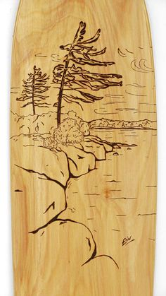 Nelson based artist does amazing wood burning on skateboards as well as long boards.