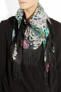 ATHENA PROCOPIOU  Serafina fringed printed silk-chiffon scarf