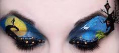 Nightmare Before Christmas eye make up mural.this page has other clever eye make up ideas like this! Disney Eye Makeup, Eye Makeup Art, Eye Art, Eyeshadow Makeup, Horror Makeup, Bat Makeup, Makeup Contouring, Fairy Makeup, Looks Halloween