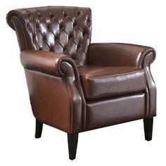 Found it at Wayfair - Franklin Tufted Leather Arm Chair in Brownhttp://www.wayfair.com/daily-sales/p/Traditional-Consoles%2C-Chests-%26-More-Franklin-Tufted-Leather-Arm-Chair-in-Brown~NFN2362~E12886.html?refid=SBP.rBAjD1Ne6Rl2fmZlC2yjAvCrEsRUwkooivj6TrIdyNY