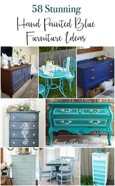 A huge collection of 53 gorgeous DIY painted blue painted furniture ideas. These are all hand painted furniture pieces in many shades and styles of blue. From breezy coastal to clean modern blue you'll find a wide variety of painted dressers, tables, seating, storage and more. #bluepaintedfurniture #bluefurniture