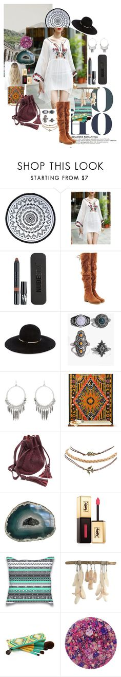 """BOHO."" by ashleyleannepelham ❤ liked on Polyvore featuring You, Me and the Dream, Nudestix, See by Chloé, Eugenia Kim, Boohoo, Wet Seal, Yves Saint Laurent and Nails Inc."