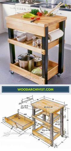 Woodworking Diy Projects By Ted - Kitchen Cart Plans - Furniture Plans and Projects | WoodArchivist.com Get A Lifetime Of Project Ideas & Inspiration! #WoodWorkingPlansFurniture