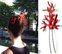 Ornement de coiffure corail rouge