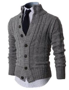 Black Friday Mens High-neck Twisted Knit Cardigan Sweater with Button Details Grey US L (Asia XL) Fashion Mode, Look Fashion, Winter Fashion, Mens Fashion, Fashion Outfits, Fashion Ideas, Sweater Cardigan, Men Sweater, Chunky Cardigan