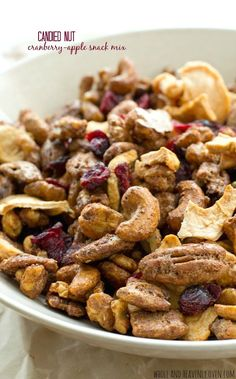 Sugary candied nuts and plenty of dried cranberries and apples come together in this addicting snack mix. Apple Snacks, Savory Snacks, Easy Snacks, Yummy Snacks, Healthy Snacks, Snack Recipes, Dessert Recipes, Candied Nuts, Chocolate