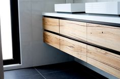 Tathra Timber Vanity by Bombora Custom Furniture. Contemporary, striking and very functional, the Tathra solid timber vanity is perfect for any modern. Timber Bathroom Vanities, Timber Vanity, Vanity Bathroom, Recycled Timber Furniture, Custom Made Furniture, Wood Furniture, Furniture Makers, Timber Walls, Timber Wood