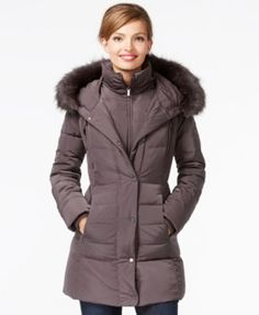 Calvin Klein Faux-Fur-Trim Puffer Down Jacket   macys.com   winter ...