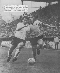 Coventry City 0 Derby Co 2 in April 1973 at Highfield Road. Colin Todd and Tommy Hutchinson battle for the ball Coventry City Fc, Class Games, Derby County, Tottenham Hotspur, Leicester, Golden Age, Premier League, 2 In, Blues