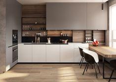 Kitchen Shelf Design, Home Decor Kitchen, Home Kitchens, Black Kitchens, Kitchen Shelves, Kitchen Black, Rustic Kitchens, Modern Kitchen Cabinets, Pantry Design
