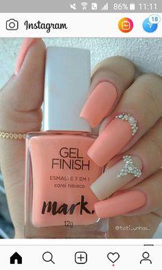Unicorn Nails Designs, 3d Nail Designs, Avon Nails, Gelish Nails, Pastel Nail Art, Flamingo Nails, Bright Nails, Best Acrylic Nails, Orange Nails