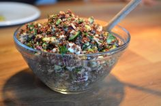 quinoa -   1 stock cube 1 ½ garlic bulb 1 small red onion 150 grams feta cheese, crumbled 1 zucchini 1 tablespoon of flat parsley, chopped 1 tablespoon oliveoil 2 teaspoons of sea – or Himalaya salt 1 teaspoon turmeric 1 teaspoon black pepper half a lemon