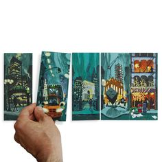 Endless City New York: 16 double-side cards total of 32 images) that form continuous panoramic cityscape when placed side-by-side. Creative Gifts, Cool Gifts, Unique Gifts, Craft Activities For Kids, Crafts For Kids, Type Posters, City Illustration, Green Gifts, New York